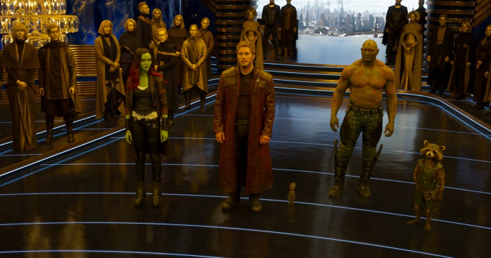 Guardians Of The Galaxy Vol. 2 L to R: Gamora (Zoe Saldana), Star-Lord/Peter Quill (Chris Pratt), Groot (Voiced by Vin Diesel), Drax (Dave Bautista), and Rocket (Voiced by Bradley Cooper) Ph: Film Frame ©Marvel Studios 2017